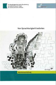 """Titel Ausstellungsflyer """"Von Sprachlosigkeit befreien"""""""